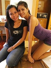 Hot Asian threesome with chubby and skinny Filipinas